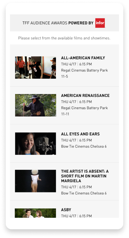 Tribeca Film Festival voting app screenshot