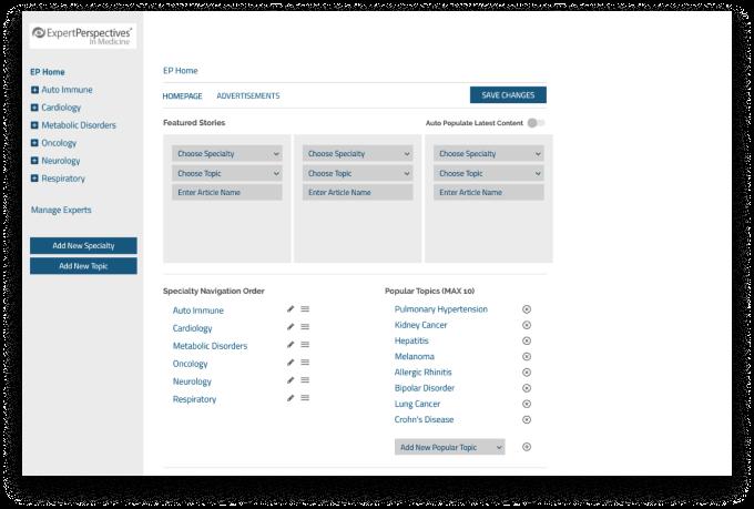 Expert Perspectives admin screenshot